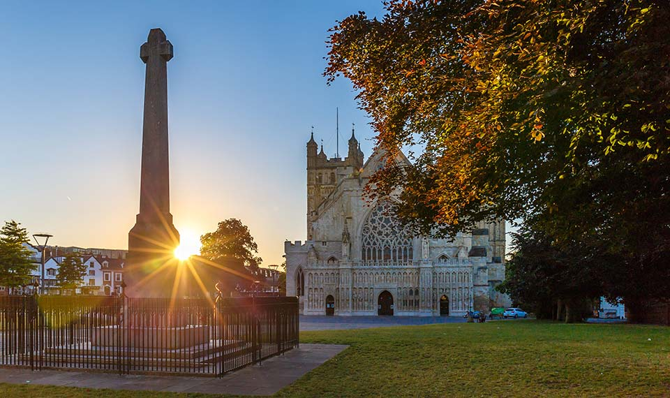 Exeter Cathedral at sunset